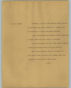Primary view of object titled '[News Script: Shaw trial]'.