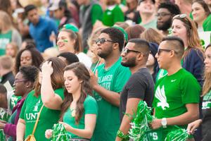 Primary view of object titled '[UNT Students in the stands]'.