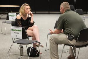 Primary view of object titled '[UNT's Human Library Event, Two Participants Talking To One Another]'.