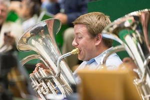 Primary view of object titled '[Tuba Players at UNT Commencement Ceremony]'.