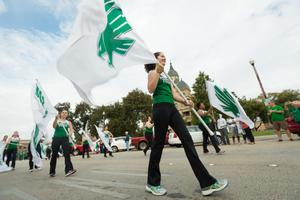 Primary view of object titled '[UNT Colorguard in Homecoming Parade]'.