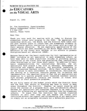 Primary view of object titled '[Letter from Bill McCarter and Jack Davis to Tim Sonnenberg, August 11, 1992]'.