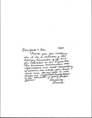 Primary view of object titled '[Letter from Brenda Crawford to Jack Davis and Bill McCarter, May 31, 1990]'.