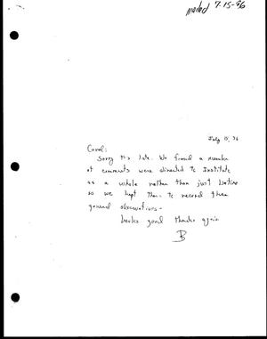 Primary view of object titled '[Letter from Bill McCarter to Carol Wyrick, July 15, 1996]'.