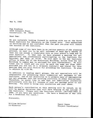 Primary view of object titled '[Letter from Bill McCarter and Nancy Cason to Pam Stephens, May 9, 1990]'.