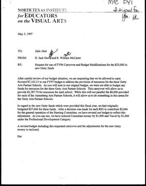 Letter from Jack Davis and Bill McCarter to Julie Abel, May