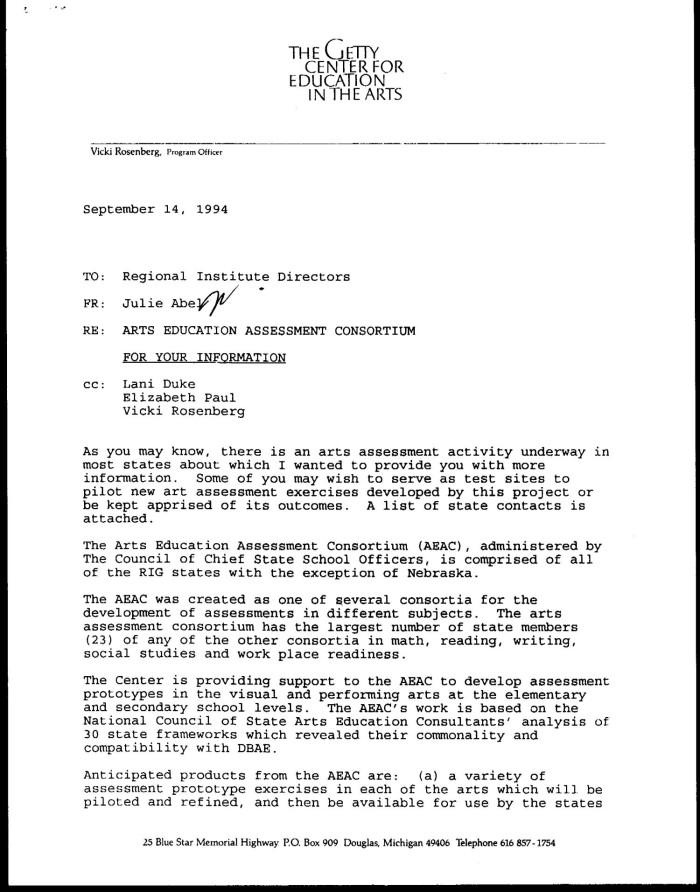 RE: Arts Education Assessment Consortium, September 14, 1994