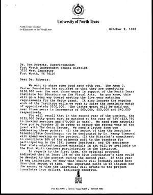 Primary view of object titled '[Letter from Bill McCarter and Jack Davis to Don R. Roberts, October 9, 1990]'.