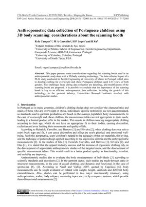 Anthropometric data collection of Portuguese children using 3D body scanning: considerations about the scanning booth