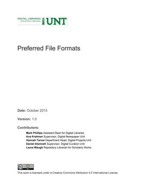 Primary view of object titled 'Appendix L: Preferred File Formats'.