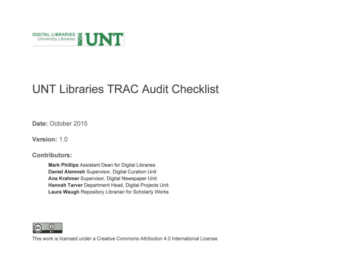 Appendix A: UNT Libraries TRAC Audit Checklist - Digital Library