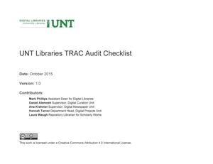 Primary view of object titled 'Appendix A: UNT Libraries TRAC Audit Checklist'.