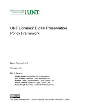 Primary view of object titled 'Appendix H: UNT Libraries' Digital Preservation Policy Framework'.