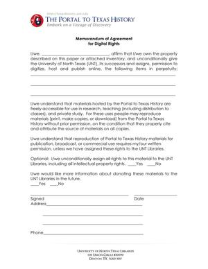 Primary view of object titled 'Appendix E: Portal Memorandum of Agreement for Digital Rights'.