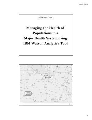 Primary view of object titled 'Managing the Health of Populations in a Major Health System using IBM Watson Analytics Tool'.