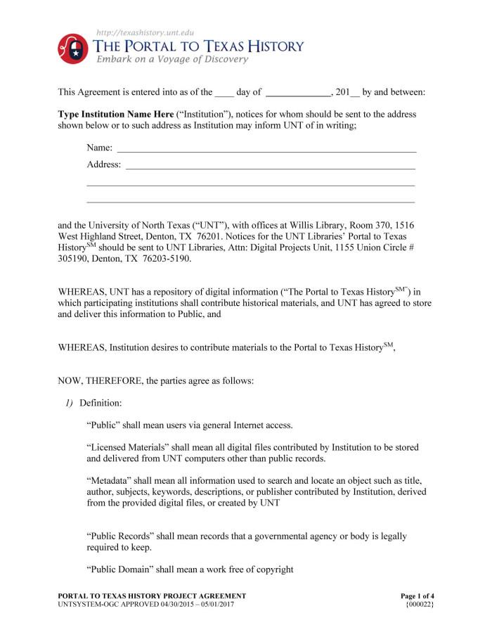 Appendix D The Portal Partnership Agreement Digital Library