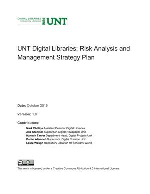Primary view of object titled 'Appendix S: UNT Digital Libraries: Risk Analysis and Management Strategy Plan'.