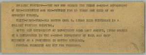 Primary view of object titled '[News Script: Dr. Lyman death]'.