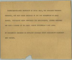 Primary view of object titled '[News Script: Hesburgh]'.