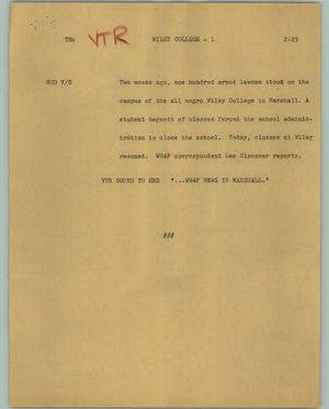 Primary view of object titled '[News Script: Wiley College]'.