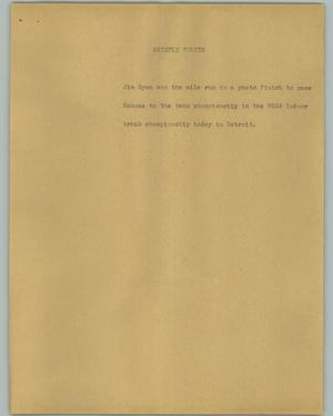 Primary view of object titled '[News Script: Briefly tonite]'.