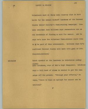 Primary view of object titled '[News Script: Cancer campaign]'.