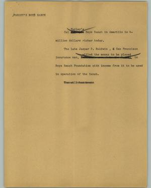 Primary view of object titled '[News Script: Farley's Boys Ranch]'.