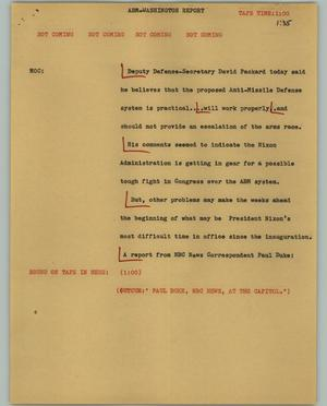 Primary view of object titled '[News Script: ABM-Washington report]'.