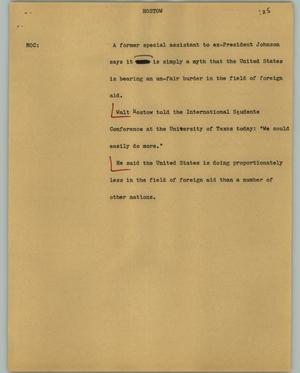 Primary view of object titled '[News Script: Rostow]'.