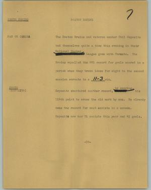 Primary view of object titled '[News Script: Boston Bruins]'.