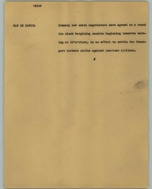Primary view of object titled '[News Script: Union]'.
