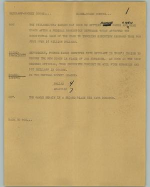 Primary view of object titled '[News Script: Retzlaff Hockey Score]'.