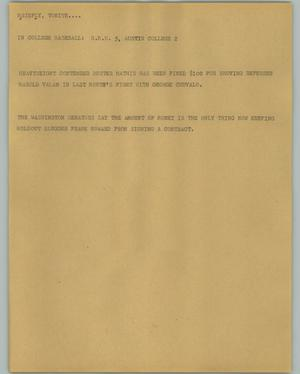 Primary view of object titled '[News Script: Baseball and boxing]'.