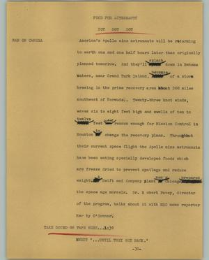 Primary view of object titled '[News Script: Food for Astronauts]'.