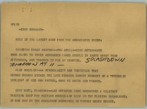 Primary view of object titled '[News Script: National news]'.