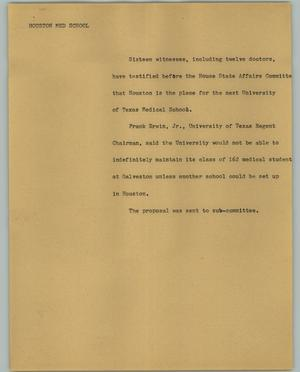Primary view of object titled '[News Script: Houston med school]'.