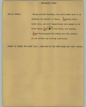 Primary view of object titled '[News Script: Weatherman Intro]'.