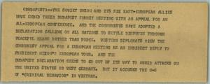 Primary view of object titled '[News Script: Budapest Summit]'.