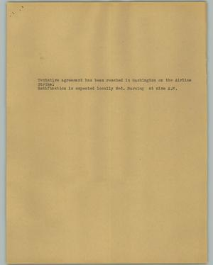Primary view of object titled '[News Script: Airline strike]'.