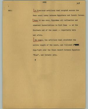 Primary view of object titled '[News Script: Suez]'.
