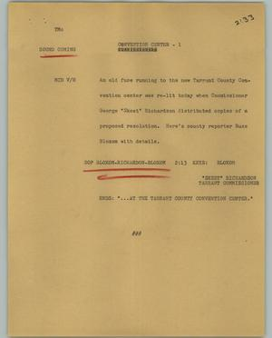 Primary view of object titled '[News Script: Convention Center]'.