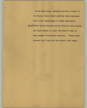 Primary view of object titled '[News Script: School Board Elections]'.