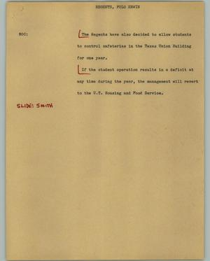 Primary view of object titled '[News Script: Regents, Polo Erwin]'.