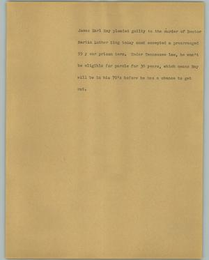 Primary view of object titled '[News Script: James Earl Ray]'.