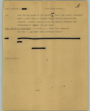 Primary view of object titled '[News Script: Paul Anderson]'.
