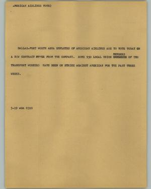 Primary view of object titled '[News Script: American Airlines Vote]'.