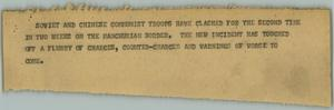 Primary view of object titled '[News Script: Manchurian Border Crisis]'.