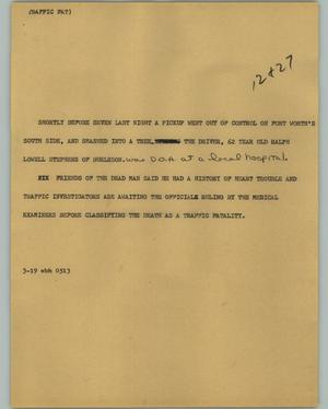 Primary view of object titled '[News Script: Traffic fat]'.