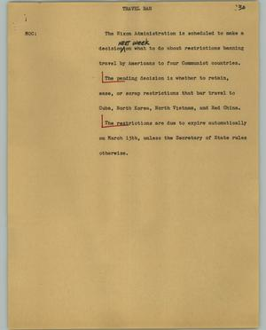 Primary view of object titled '[News Script: Travel ban]'.