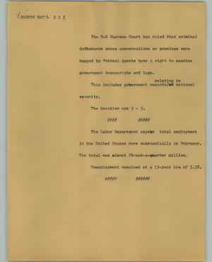 Primary view of object titled '[News Script: Shorts Nat'l]'.